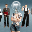 Business Team With Lamp Head — Stock Photo #38409135