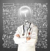 Lamp Head Doctor Man — Stock Photo