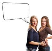 Two European Women With Speech Bubble — Stock Photo