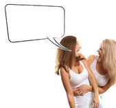 Two European Women With Speech Bubble — Стоковое фото