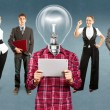 Business Team With Lamp Head — Stock Photo #39203685