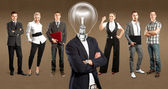 Business Team With Lamp Head — Zdjęcie stockowe