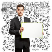 Business Man with Empty Write Board — Stock Photo