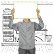 Stock Vector: MWith Write Board Against His Head