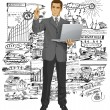 Vector Business Man Shows Something With Finger — Stock Vector #40072773