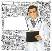 Vektorové lékař muž s schránky — Stock vektor