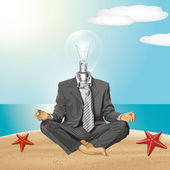 Vector Lamp Head Businessman in Lotus Pose Meditating — Stock Vector