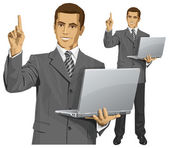 Vector Business Man Shows Something With Finger — Vetor de Stock