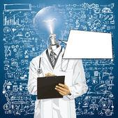 Vektor lampa huvud läkare man med urklipp — Stockvektor