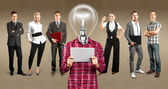 Business Team With Lamp Head — Stok fotoğraf
