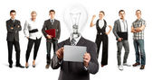 Business Team With Lamp Head — Stock fotografie