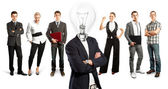Business Team With Lamp Head — Stock Photo