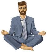 瞑想の実業家 — ストックベクタ