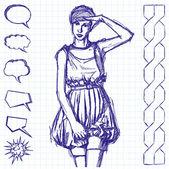 Sketch comics style woman — ストックベクタ