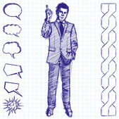 Sketch Male In Suit — Stock Vector