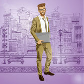 Hipstar business man with laptop — Stock Vector
