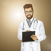 Hipster doctor man — Vector de stock