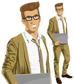 Hipstar business Man With Laptop — Vector de stock