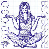 Sketch Woman In Lotus Pose — Vector de stock