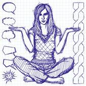 Sketch Woman In Lotus Pose — Stock Vector