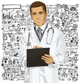Doctor Man With Clipboard — Stock Vector