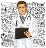 クリップボードを持つ医師男 — ストックベクタ
