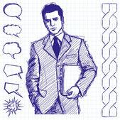 Empresario de dibujo con ordenador portátil — Vector de stock