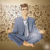 Businessman meditating — Stock Vector