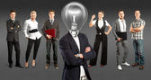 Business Team With Lamp Head — Foto Stock