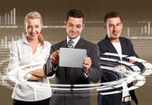 Business Team With Touch Pad — Stok fotoğraf