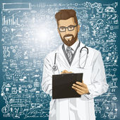 Vector Hipster Doctor Man With Clipboard — Stok Vektör