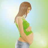 Vector Pregnant Female With Belly — Stock Vector