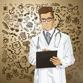 Wektor hipster lekarz mężczyzna ze schowka — Wektor stockowy