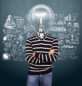 Lamp Head Man In Striped Pullover — Stockfoto