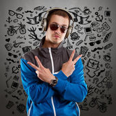 Man in Glasses With Headphones — Stock Photo