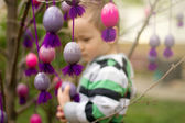 Little Boy With Easter Eggs — Stock Photo