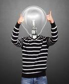 Lampa głowa mężczyzna w paski sweter — Zdjęcie stockowe