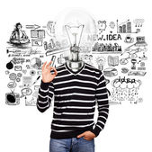 Lamp Head Man In Striped Pullover — Stock Photo