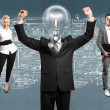 Business Team With Lamp Head — Stock Photo #46219823