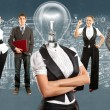 Business Team With Lamp Head — Stock Photo #46219829