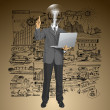 Vector Lamp Head Business Man Shows Something With Finger — Stock Vector #46620763