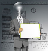 Vector Lamp Head Business Man with Empty Write Board — Cтоковый вектор