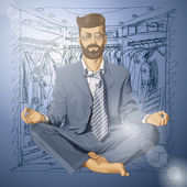 Vector Hipster Businessman in Lotus Pose Meditating — Vecteur