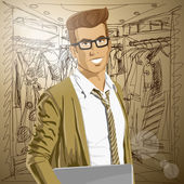 Vector Hipstar Man With Laptop in His Hands — Vetor de Stock