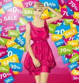 Blonde in roze jurk — Stockvector