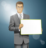Business Man with Empty Write Board — Stock Vector