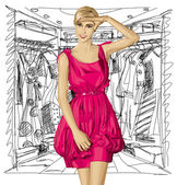 Surprised Blonde in Pink Dress — Stock Vector