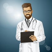 Hipster Doctor With Clipboard — Vettoriale Stock