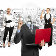 Business team with lamp head — Stock Photo #49574085