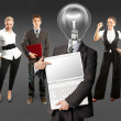 Business team with lamp head — Stock Photo #49574861